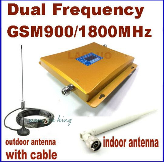 LCD display Dual Band 2G GSM 900mhz DCS 1800mhz Repeater Signal Booster GSM DCS Cell Phone Amplifier + anatenna 1 set