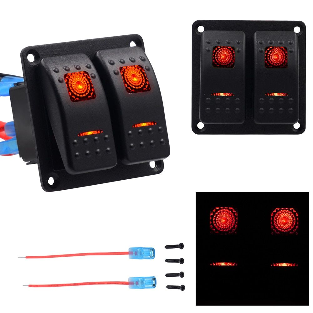 Car-styling 2 Gang Waterproof Car Auto Boat Marine LED Rocker Switch Panel Circuit Breakers 12v on-off Universal