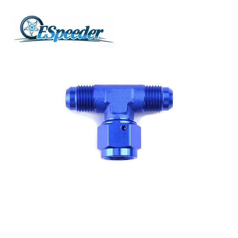 ESPEEDER AN4 Tee-female Swivel On Side Anoized Aluminum Adaptors Fittings Blue