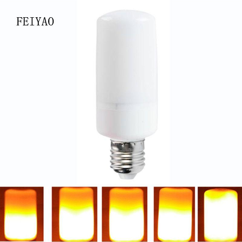 Новые светодиодные лампы E27 E14 SMD2835 AC110V-220V Светодиодная лампа пламени пламя световой эффект огонь Кукуруза мерцание лампы эмуляции ночник