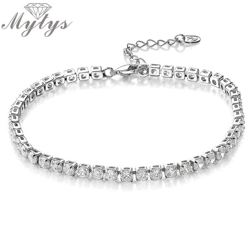 Mytys Tone white gold GP Crystal Tennis Chain bracelet for women B108