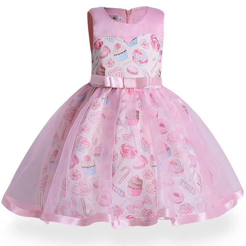 New Year Day Baby Girls dress ice cream print of Children's Dress Kids Party Wear Dress Girl Ceremony Vestido Christmas Clothes