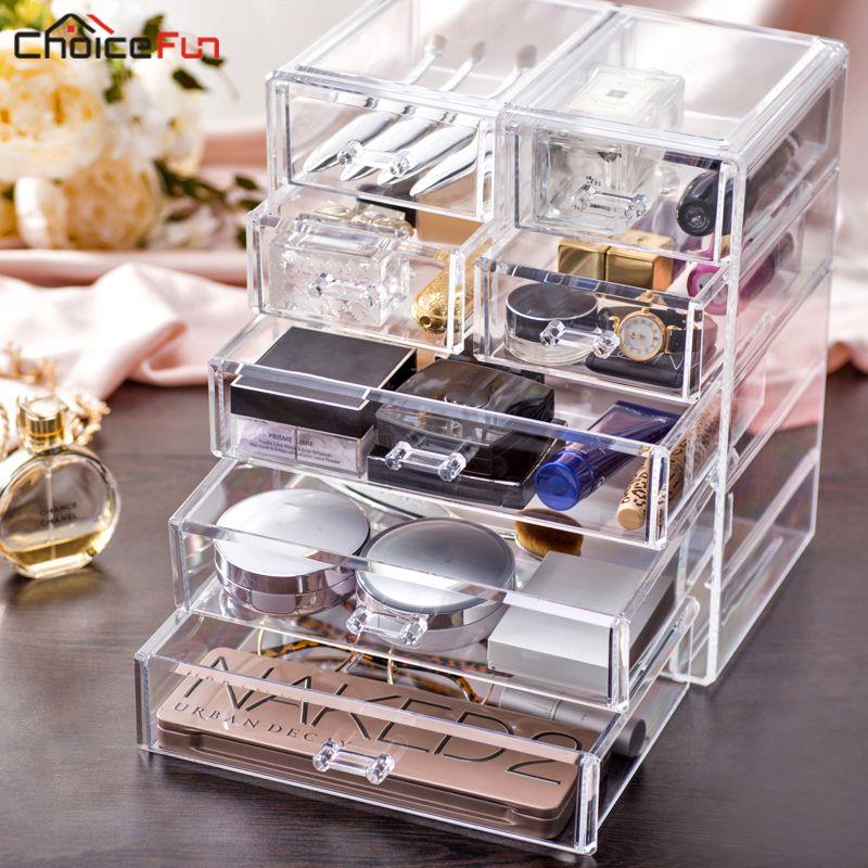 Choix FUN meilleure vente grand bureau clair acrylique tiroirs cercueil grand plastique stockage maquillage cosmétique organisateur pour décorations
