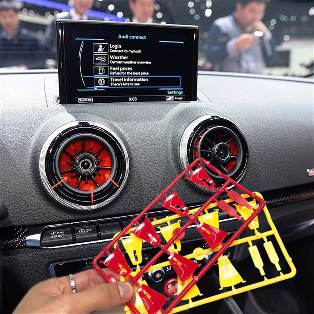 4pcs Interior Front Dashboard Red Air Condition Cover For Audi A3 S3 8V 2013 2014 2015 2016 Air Vent Outlet Replacement Trim