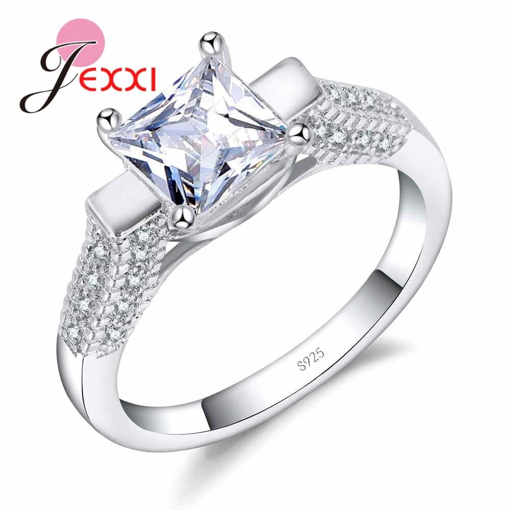JEXXI Authentic 925 Sterling Silver Ring Princess Cut Square Zircon Stone Women Wedding Engagement Jewelry Best Christmas Gift