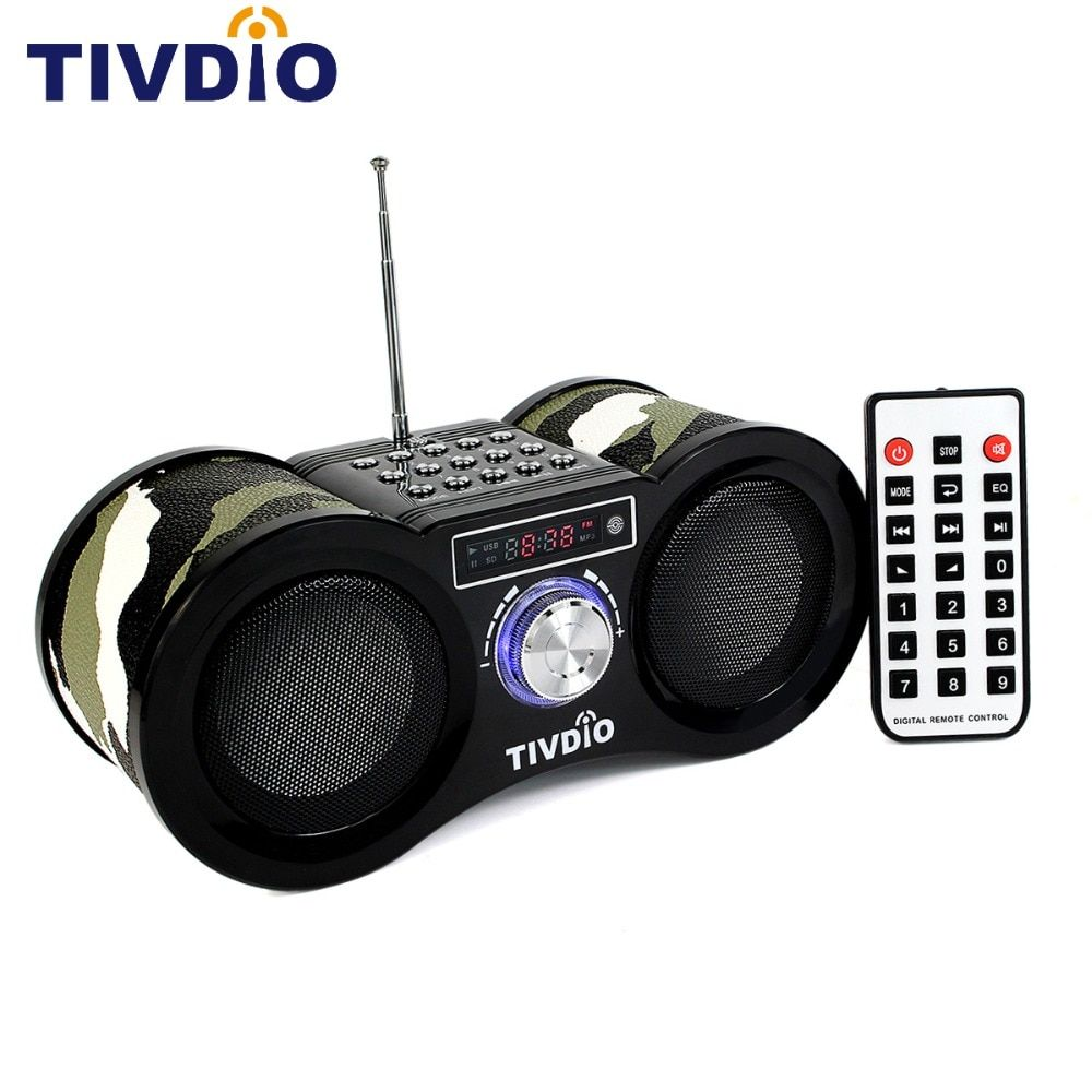 TIVDIO V-113 FM Radio Stereo Digital Radio Receiver Speaker USB Disk TF Card MP3 Music <font><b>Player</b></font> Camouflage + Remote Control
