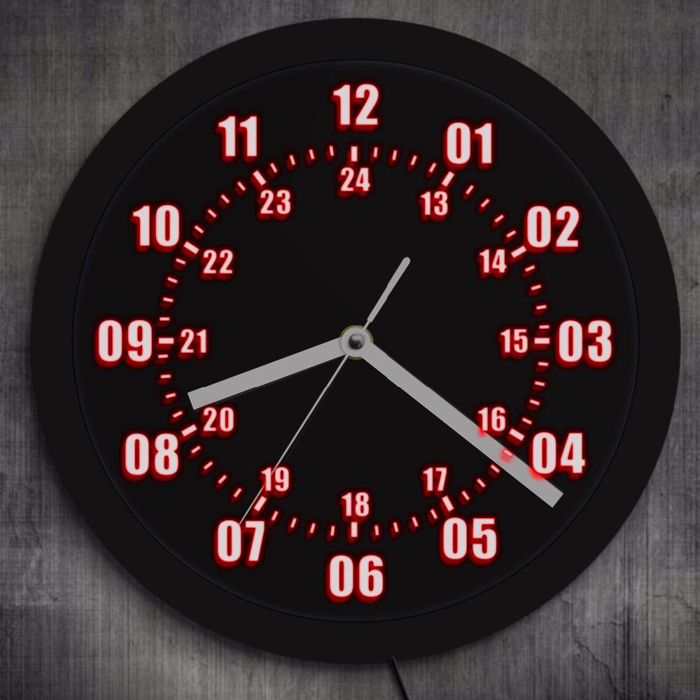 Military Time 24 Hours Display Neon Sign Wall Clock with LED Backlight Military World Time Zone Amateur Neon Sign LED Wall Clock