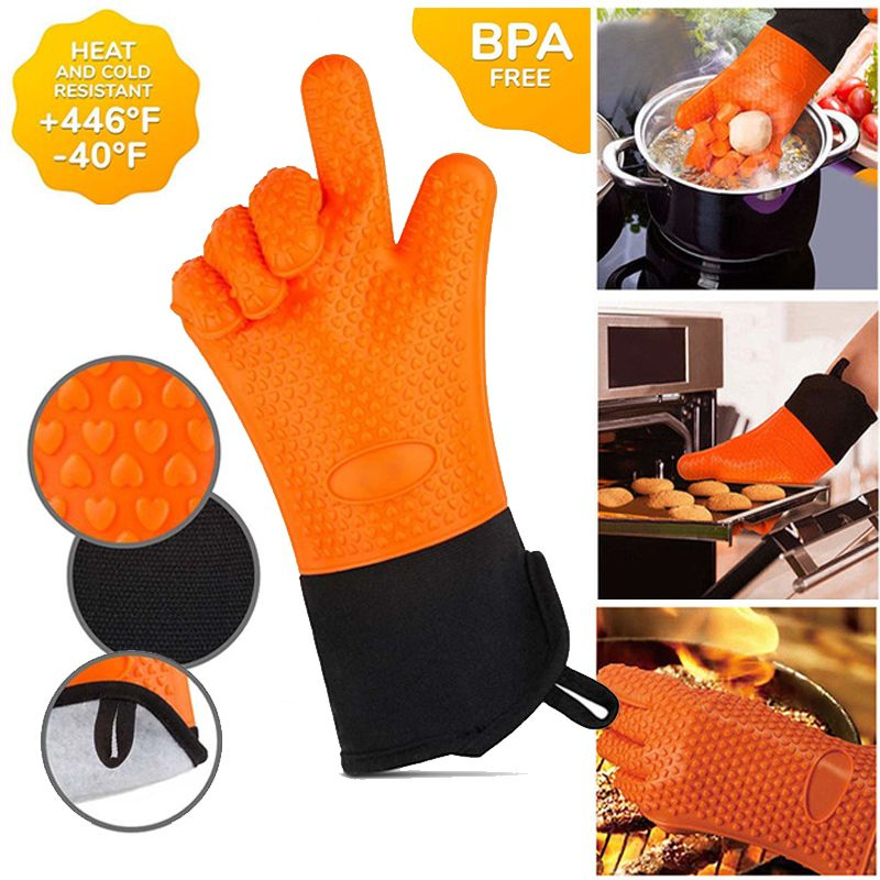 2pcs Food Grade Thick Heat Resistant Silicone Glove BBQ Grill Gloves Kitchen Barbecue Oven Cooking Mitts Grill Baking Gloves
