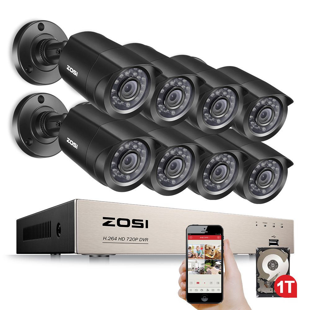 ZOSI 8-Channel <font><b>1080N</b></font> HD-TVI DVR Surveillance Camera Kit 8x 1280TVL 720P Indoor Outdoor IR Weatherproof Cameras 1TB HDD