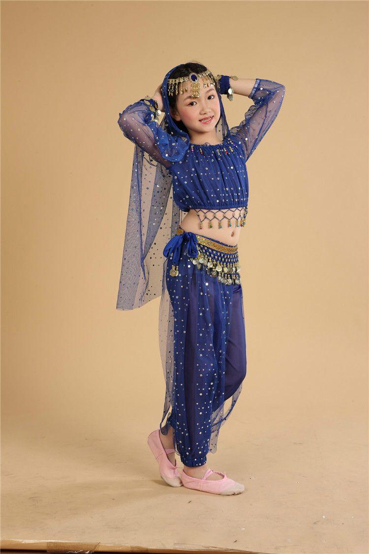Ребенок танец живота костюм для сценического шоу дети индийский производительность блесток Костюмы костюмы для восточных танцев Болливуд...