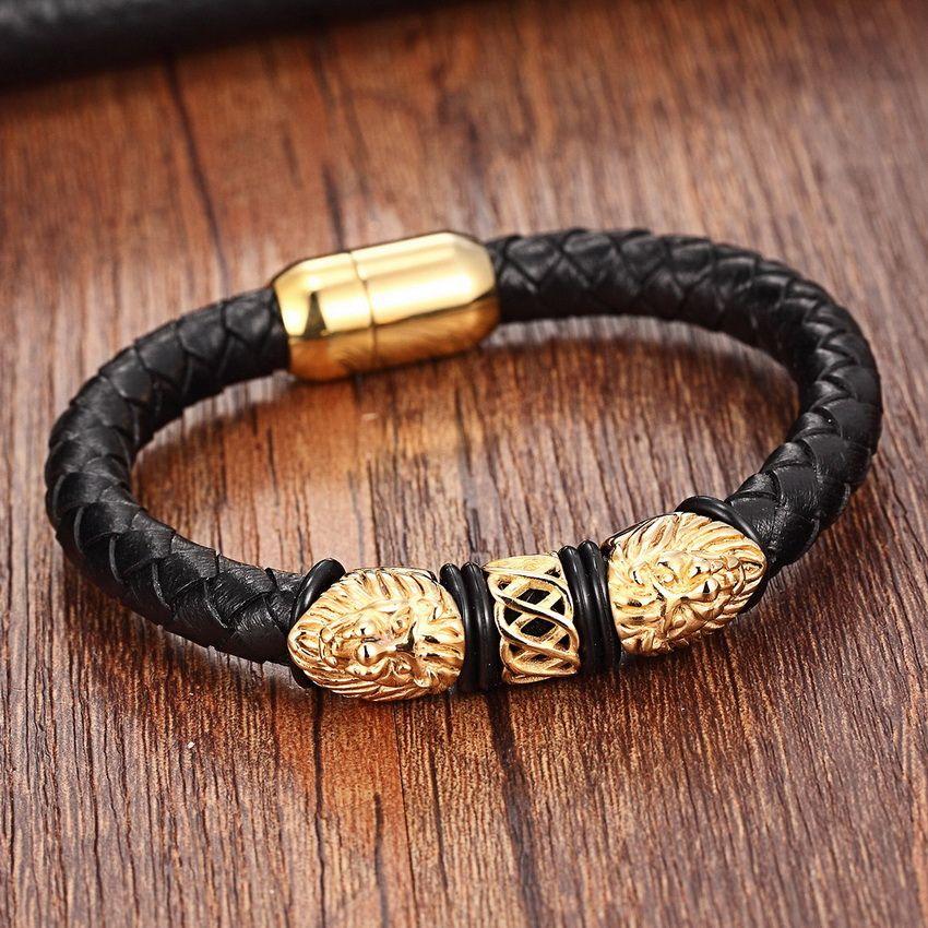 Or Véritable En Cuir En Acier Inoxydable Bracelets Pour Femmes Bracelets et Bracelets À La Mode Hommes Bijoux De Charme de Mode En Cuir Bracelet