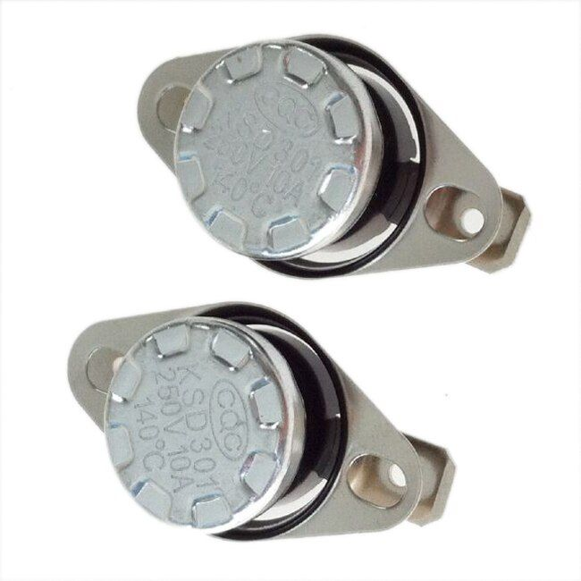 2 Pieces 140 Celsius Normal Closed Thermostat Switch KSD301