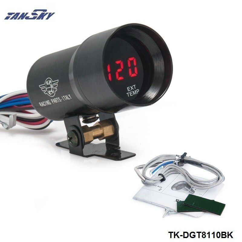 TANSKY - 37MM Digital Smoked Lens Exhaust Gas Temperature EGT Gauge Black For Jeep TK-DGT8110BK