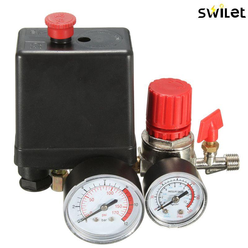 Air Compressor Pressure Valve Switch Manifold Relief Regulator Gauges 7.25-125 PSI 240V 15A Popular
