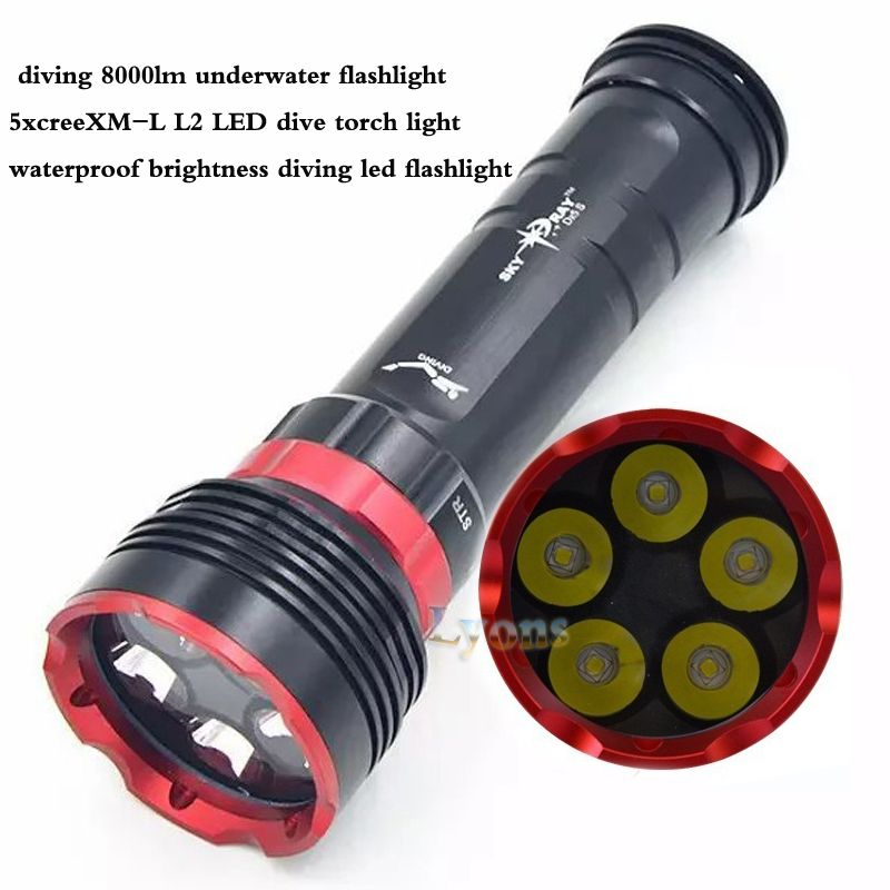 DX5S diving 8000lm underwater flashlight 5x XM-L L2 LED dive torch light waterproof brightness diving led flashlight