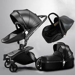 More Gifts!Free Ship! Brand baby stroller 3pcs 3 in 1 baby stroller Leather Pram Eu Car Seat Bassinet newborn car Babyfond AULON