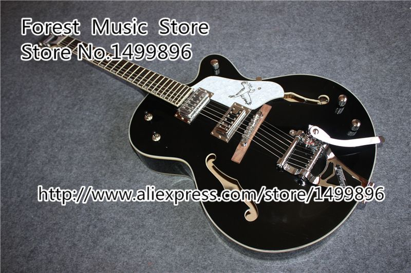 Glossy Black Falcon G6136 TBK Jazz Electric Guitar With Bigsby From China Factory