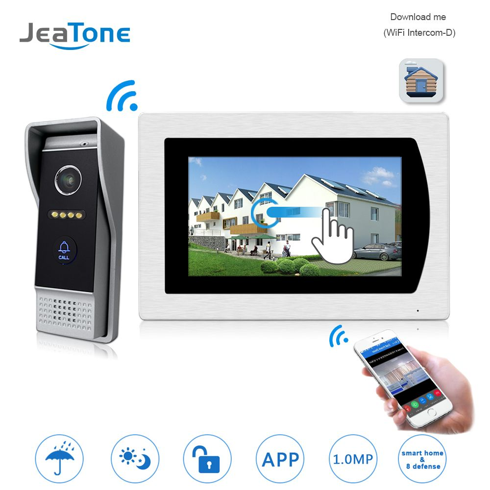 WIFI IP Video Door Phone Intercom Video Doorbell 7'' Touch Screen Apartment Access Control System Motion Detection Zone Alarm