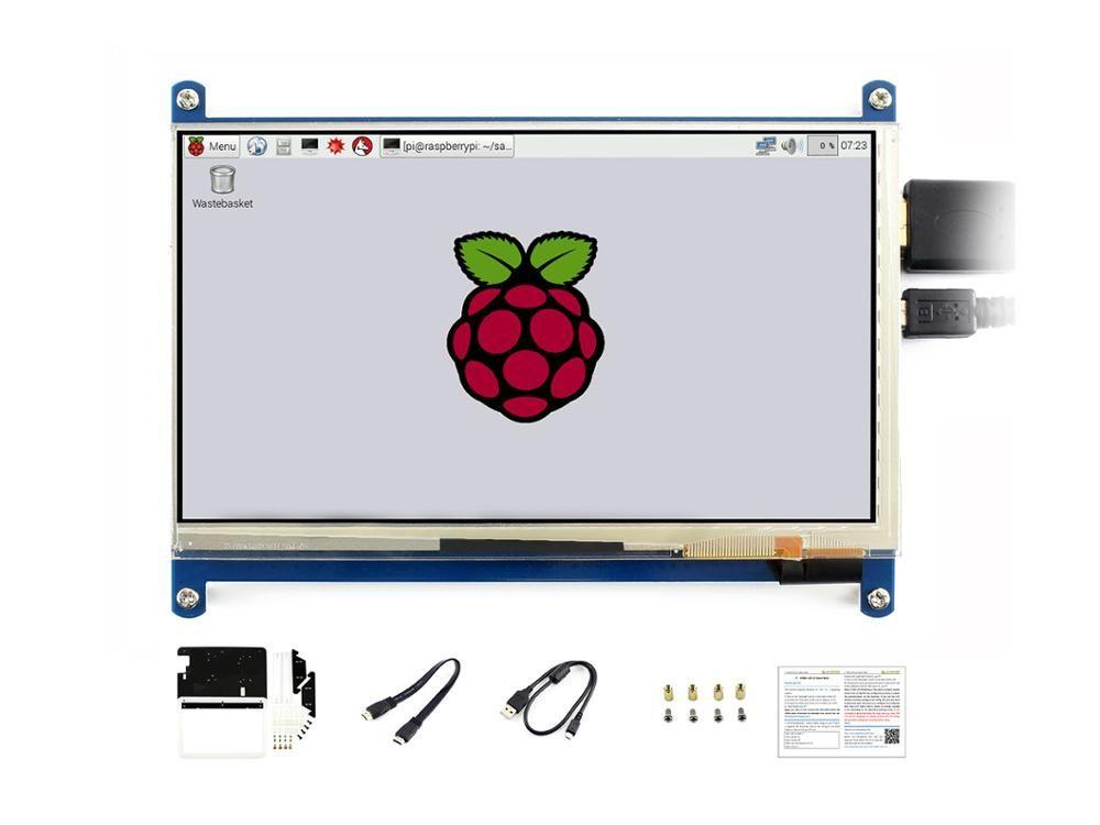 Waveshare 7 pouces HDMI LCD (C) avec boîtier bicolore, écran tactile capacitif 1024*600, pour Raspberry Pi & banane Pi, Windows 10/8. 1/8/7