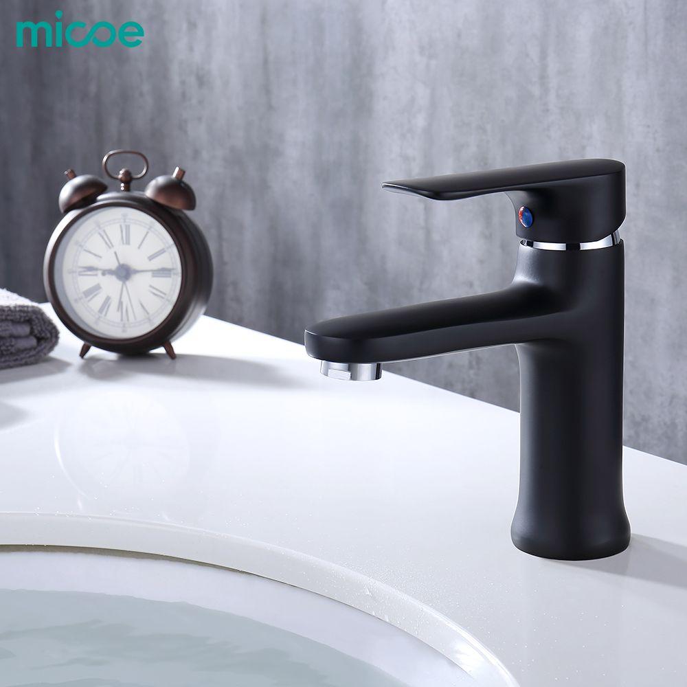 Micoe 2019 nouveau robinet de lavabo robinet de salle de bain contemporain en laiton peint poignée unique trou unique robinet chaud et froid pont Assemb
