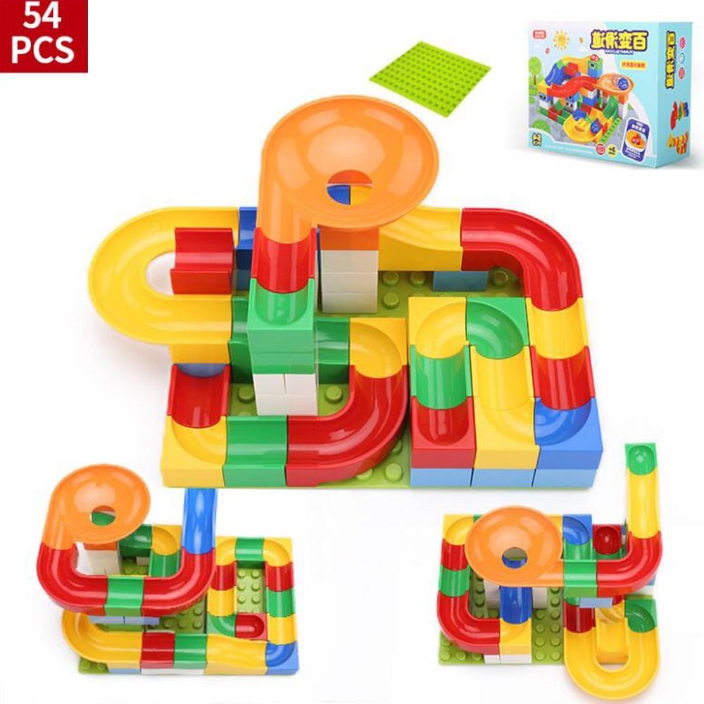 54 pcs DIY Construction Marble Race Run Maze Balls Track Kids Children Gaming Building Blocks Toys Compatible With Duplo