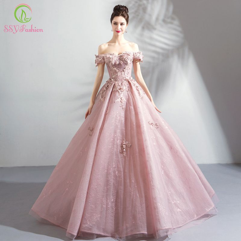SSYFashion New Luxury Lace Evening Dress Sweet Pink Appliques Beading Floor-length Formal Dresses Elegant Banquet Party Gown