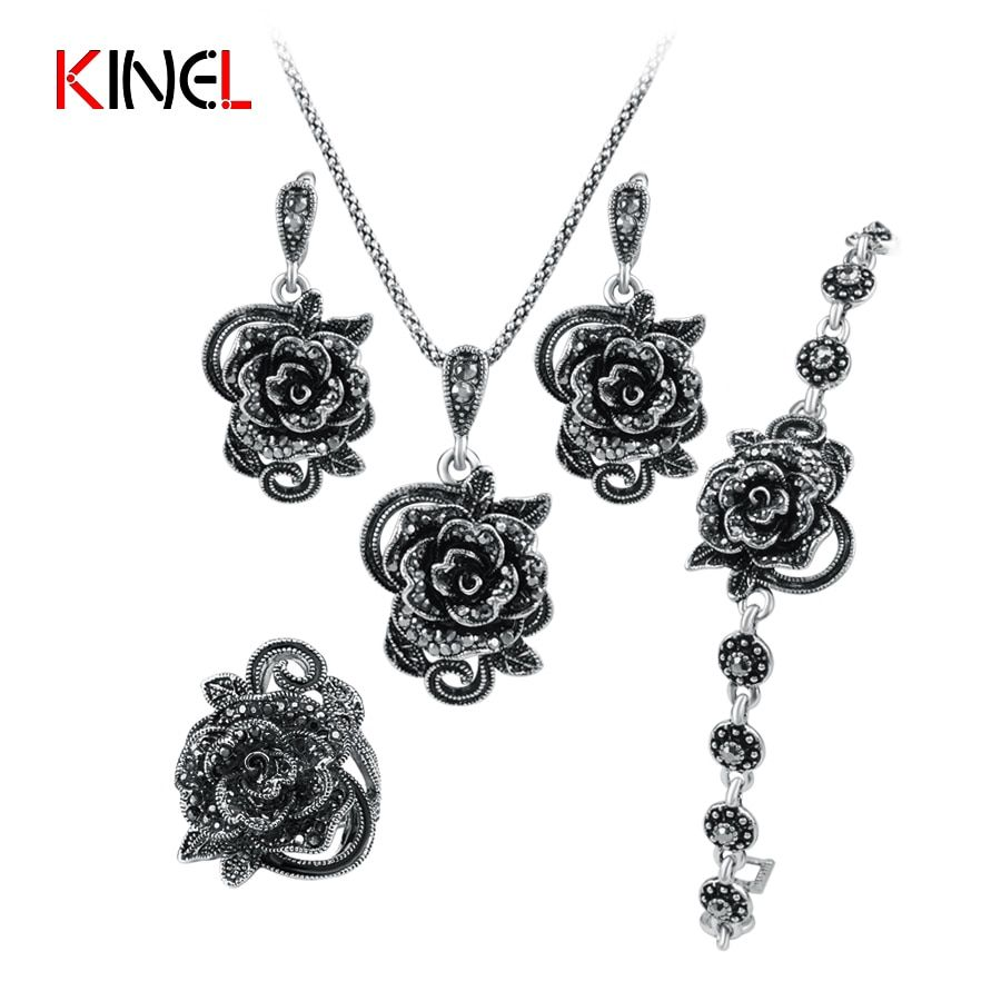 KineL Brand Rose Flower Black Crystal Jewelry Set Plating Ancient Silver 4Pcs/Sets Vintage Wedding Jewelry For Women