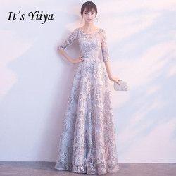 Ini Yiiya Setengah Lengan Appliques O-Leher Elegan Tulle Bunga Zipper Pesta Mewah Formal Gaun Lantai Panjang Gaun Malam MX005