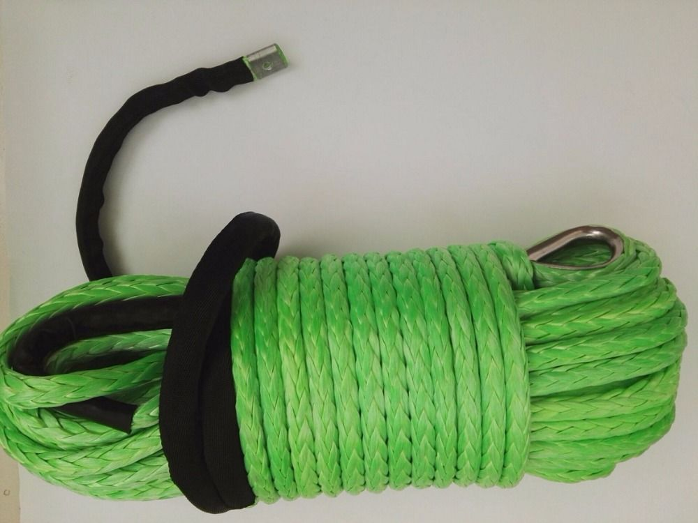 12mm*45m Green Synthetic Winch Rope,Plasma Rope,Winch Rope with Thimble,Off Road Rope,Kevlar Winch Cable
