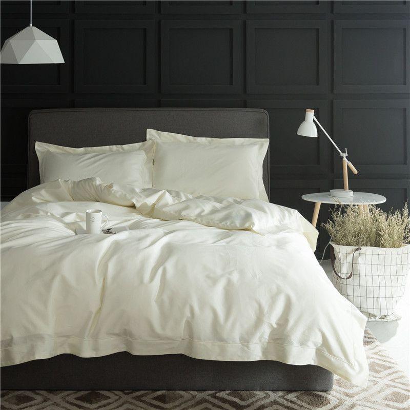 4Pcs Cream White Beige Luxury 100S Egyptian Cotton Bedding Set Queen King size Bed sheet/linen set Soft Bedclothes Pillowcase