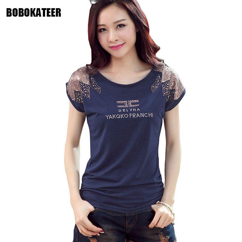 BOBOKATEER paillettes t-shirt femmes t-shirt coton grande taille t-shirt femmes d'été hauts t-shirt femme camisetas mujer verano 2019