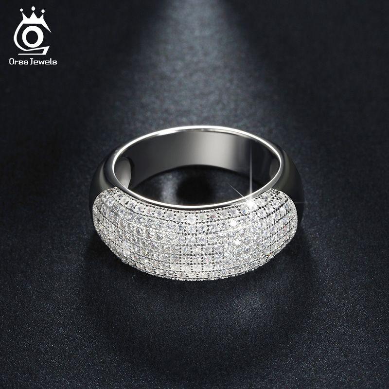 Bijoux ORSA couleur argent bague de fiançailles CZ bague pavée 168 pièces AAA bijoux de luxe en cristal autrichien pour femmes OR122