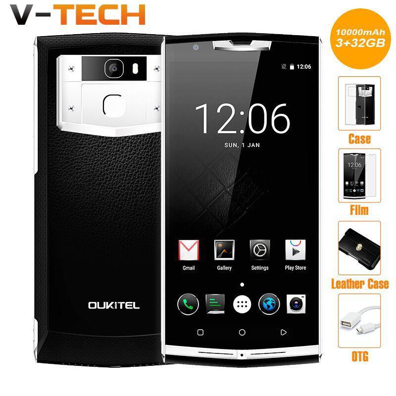 Original Oukitel K10000 Pro 10000mAh Battery 5 Points Android 7.0 13MP Octa Core 3 RAM 32G ROM 4G Fingerprint Cell Phone