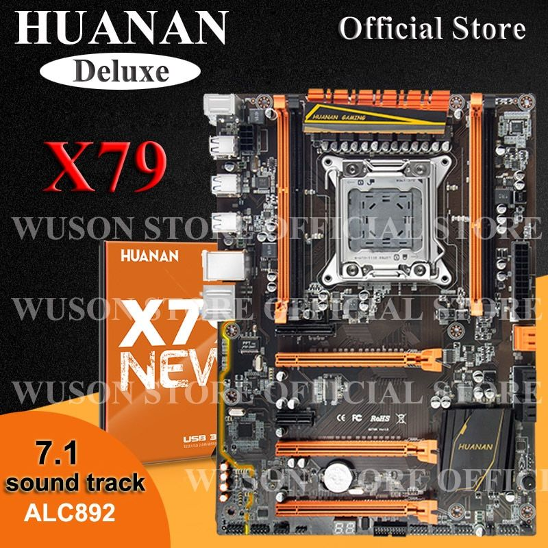 Hot selling HUANAN Deluxe X79 motherboard LGA2011 3*PCI-E x16 slots 2*SATA3.0 support 4*16G memory 7.1 sound track crossfire