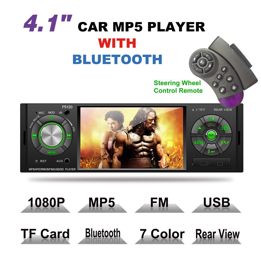 4.1 Inch 1 Din Car MP5 Player Audio Stereo Bluetooth USB AUX-IN FM Radio Station OLED Car Radio with Remote Control