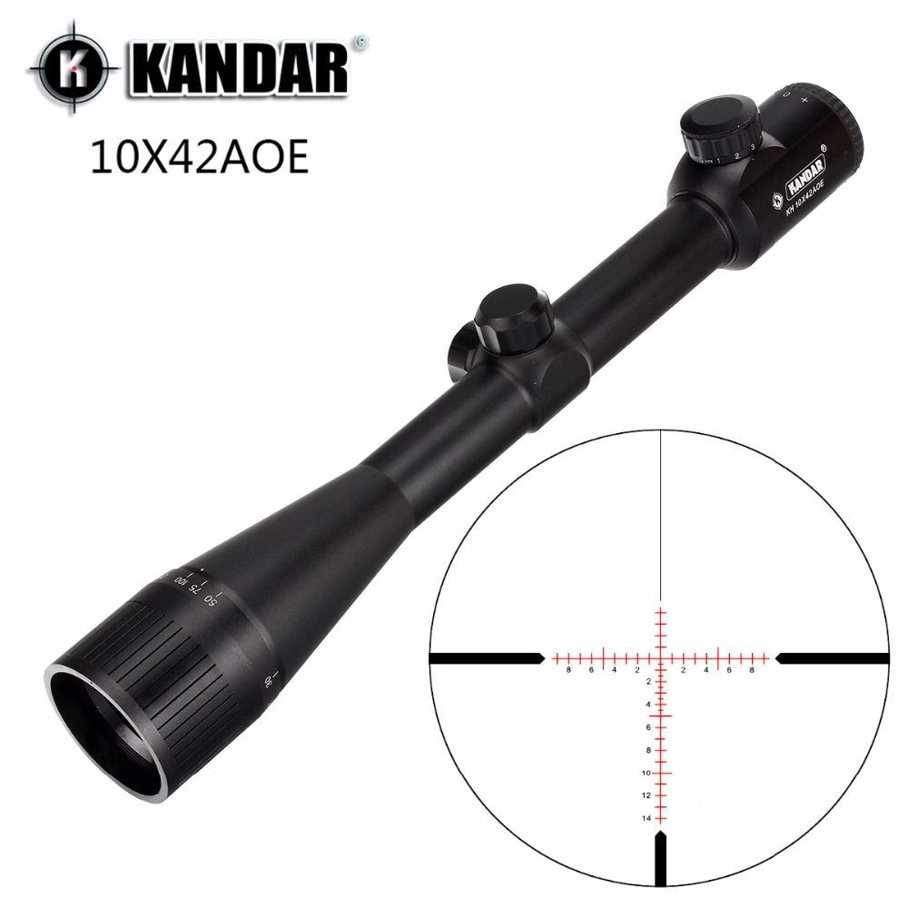 KANDAR 10x42 AOE réticule en verre rouge lunette de visée illuminée grossissement fixe 10x portée de fusil de chasse visée optique tactique