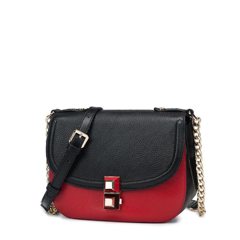 layer of leather color saddle bag 2017 new double color ~ lock nail Shoulder Messenger leather handbag on behalf of