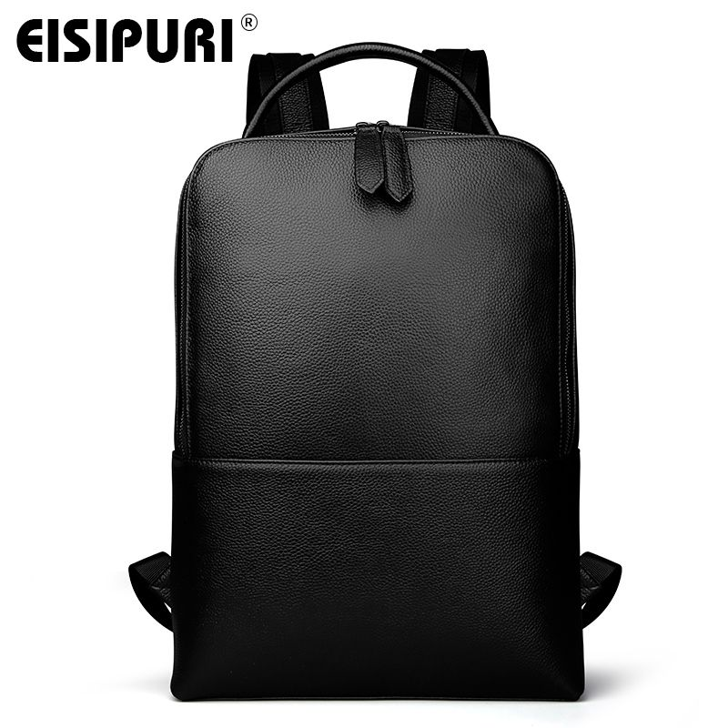 EISIPUR New Fashion Men Genuine Leather Backpack Male High Quality Waterproof Bagpack Laptop Messenger Travel 15.6 School Bag