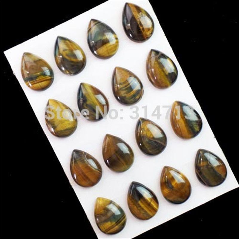 (16 pieces/lot) Natural Tiger Eye Gem Teardrop CAB CABOCHON 25x18x7mm