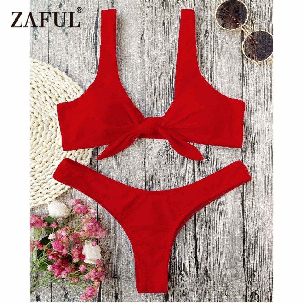 ZAFUL Bikini Knotted Padded Thong Bikini Set Women Swimwear Swimsuit Scoop <font><b>Neck</b></font> Solid High Cut Bathing Suit Brazilian Biquni