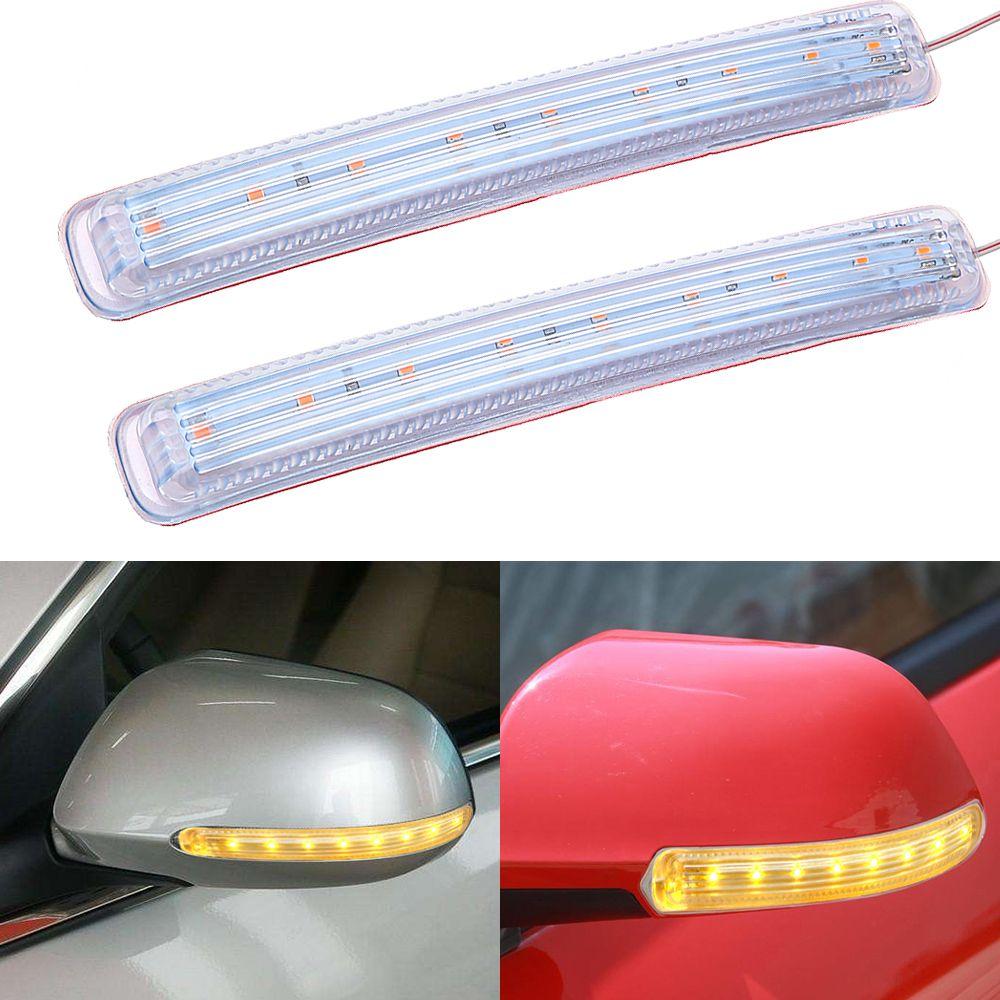 2 stücke Auto Lichtquelle Auto Rückspiegel FPC Blinker Licht Weichen Led-anzeige Lampe 9 SMD Auto- styling DC 12 v Bernstein
