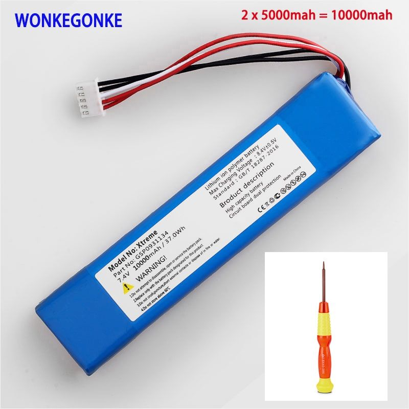 1pcs WONKEGONKE 10000mah 37.0Wh battery for JBL XTREME Xtreme GSP0931134 Batterie tracking number with tools