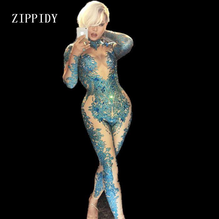 Skinny Blue Crystals Jumpsuit Female Singer Dancer Stones Costume One-piece Bodysuit Nightclub Oufit Party Leggings