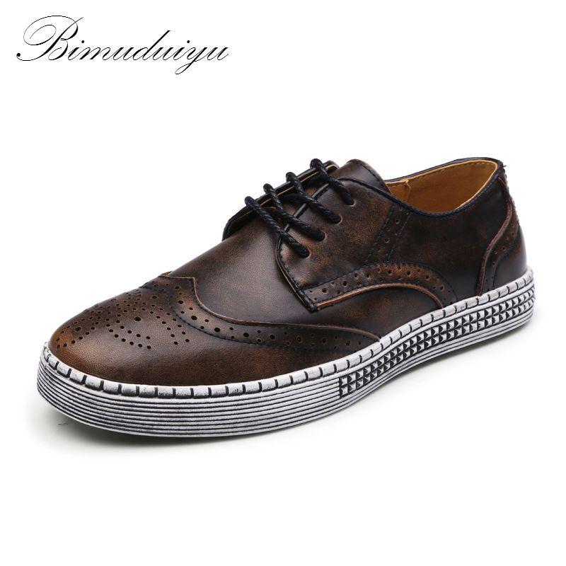 BIMUDUIYU Primavera Otoño Nueva Moda Zapatos de Cuero Genuino de Calidad Suave Ocasional Zapatos Brogue Estilo Caballero de Los Hombres 38-48 de gran tamaño