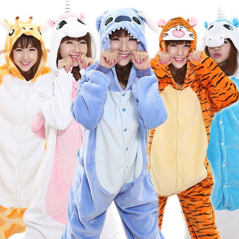 2017 Halloween Automne et D'hiver Ensembles de Pyjama de Bande Dessinée vêtements de Nuit Des Femmes Pyjama Flanelle Animal Point Panda Licorne Tigrou Pyjama