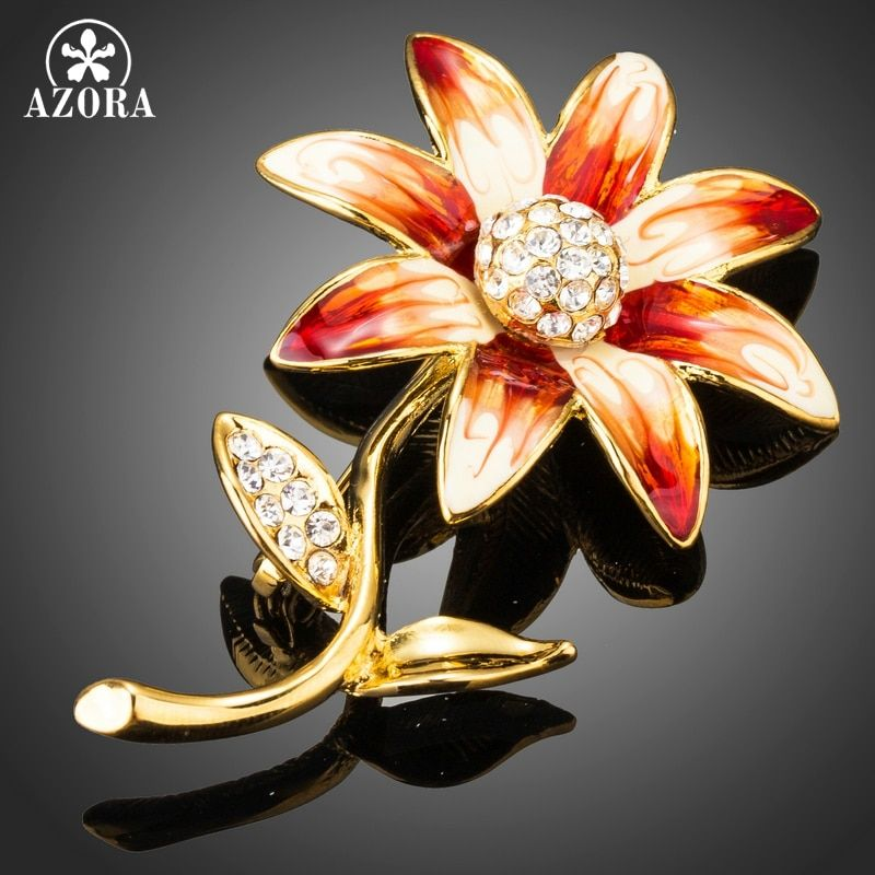 AZORA New Arrival Gold Color Oil Painting Flower Set with Stellux Austrian Cryatal Pin Brooch TP0039