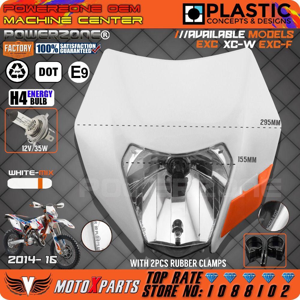 Powerzone Headlight White-Mix Motorcycle Dirt Bike Motocross Universal For KTM SX EXC XCF SXF SMR 2014 -16 Enduro Headlamp