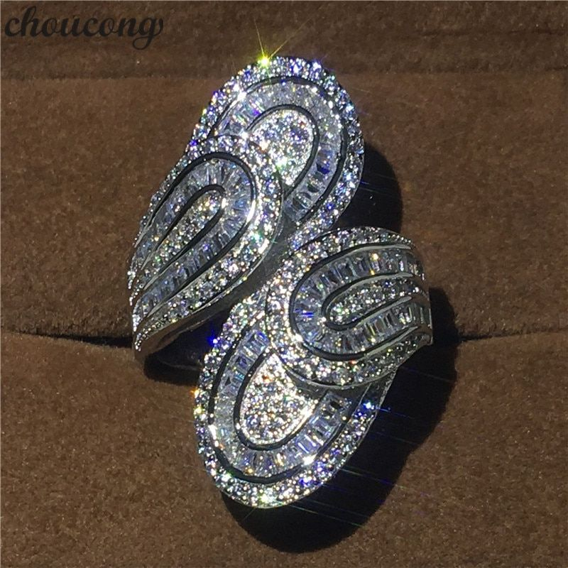 choucong Unique Big Flower Ring 5A Zircon sona Cz 925 Sterling Silver Engagement Wedding Band Rings for women men Finger Jewelry