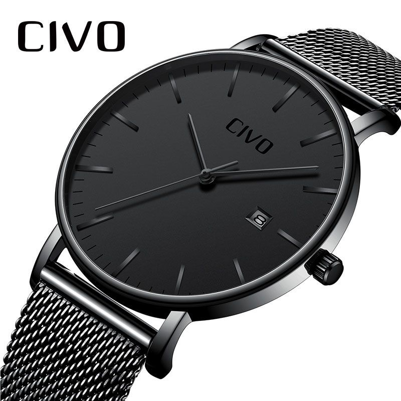 Men Watches CIVO Top Brand Luxury Waterproof Watch Ultra Thin Date Clock Male Steel Mesh Strap Businesss Casual Quartz Watch Men