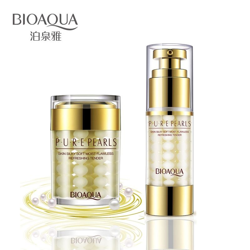 2Pcs/Lot BIOAQUA Pure Pearl Face Cream+Essence Hyaluronic Acid Deep Moisturizing Skin Care Anti Wrinkle Whitening Facial Set